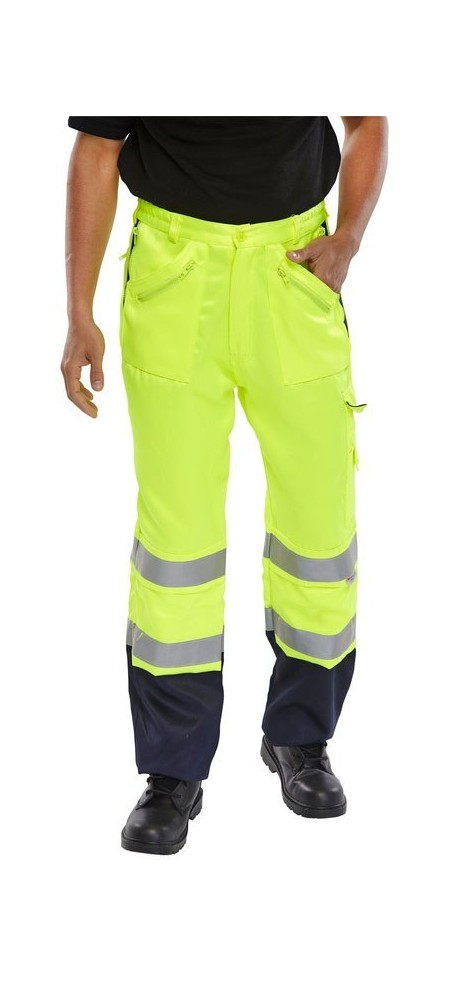 Hi Vis recovery trousers yellow and blue